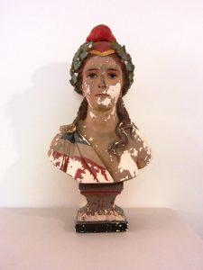 Buste de Marianne dans le parcours permanent du musée du protestantisme dans le Tarn